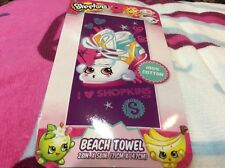 New Shopkins Sneaky beach towel purple pink white 28x58 inches