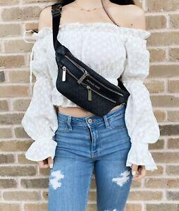 Michael Kors Kenly Small Waist Fanny Pack Crossbody Belt Bag MK Signature Black