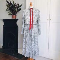 Vintage 80s Grey Black Paisley Spot Print Red Tie Cotton Blend Long Dress 12