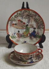 Vintage Chinese / Japanese Tea Trios Cup, Saucer & Plate Geisha Girls