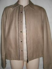 New Pringle of Scotland beige leather and wool jacket S RRP £1495