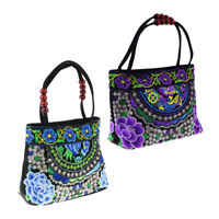 2x Vintage Ethnic Shoulder Bag Embroidery Boho Canvas Travel Handbag 31x51cm