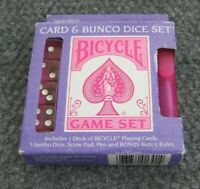 BICYCLE Game CARD & BUNCO DICE SET New in Box Pink Color Rare Score Pad Pen