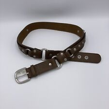"""Ann Taylor Loft Taup Leather & Distressed Silver Rivets Belt Small 34-38"""" NWT"""