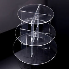 3 Tier Acrylic Crystal Clear Circle Wedding Cake Plate Stand Cupcake Stand AU