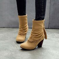 Womens Simple Retro Tassel Lace Up Ankle Boots High Heel Comfort Sexy Lace Shoes