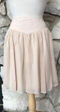 NWT ODILLE Anthropologie Beige 100% Silk Flowing Knee Length Lined Skirt Sz 12