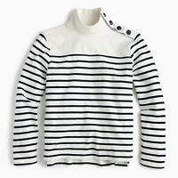 New J Crew Womens Striped Button Shoulder Turtleneck Top Long Sleeve Navy NWT