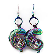 Rainbow Color Lizard Pearl Cage Earrings Hooks with 8mm Plastic Beads /Z240