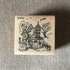 PSX Halloween Haunted Victorian House Bats Ghost Pumpkins Small Stamp