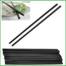 Chef-aid qualité baguettes noir 6 paires en plastique sushi chinois plain long de 24CM