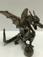 Steampunk Dragon Sitting And Holding Sphere Figurine Statue Sculpture