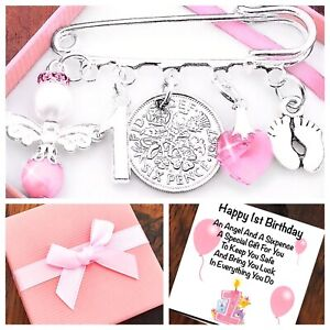 LUCKY SIXPENCE FIRST 1ST BIRTHDAY Gift GIRL/BOY,BABY FEET, GIFT BOX & CARD