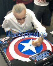 "STAN LEE HAND SIGNED CAPTAIN AMERICA MARVEL METAL SHIELD LIFE SIZE 24"" COA #2"