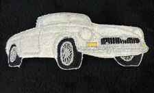 "MGB MGC Embroidered Patch White Unused 5 1/4"" MG Wire Wheels Chrome Bumper"