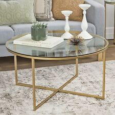 Metal Round Coffee Table Glass Large Living Room Furniture Gold Modern Lounge