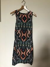 Topshop Dress Size 6 Petite Tribal Aztec Black Neon Orange Print