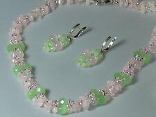 Chrysoprase &Pink Quartz, Designer Necklace&Earrings&Bracelet, Natural Gemstones