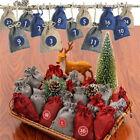 Adventskalender zum Befüllen 24 Geschenktüten + 24 Aufkleber Stoffbeutel DIY NEU