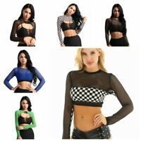 Womens Slim Tank Tops Casual Mesh Sheer Crop Top Long Sleeve T-Shirt Cami Blouse