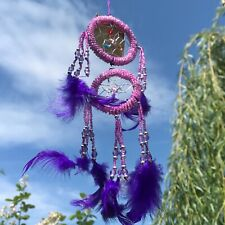 New Beaded Lilac Purple Feather Dream Catcher Native American Hanging Mobile