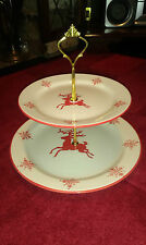 Christmas Reindeer 2 - Tier Cake Stand Gold or Silver Fittings