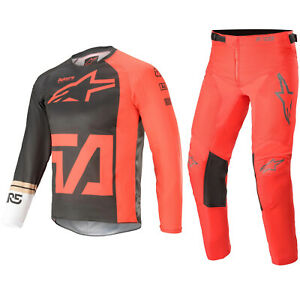 ALPINESTARS YOUTH MOTOCROSS KIT PANTS JERSEY - RACER COMPASS RED FLUO ANTHRACITE