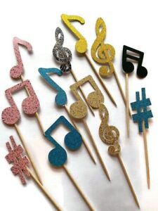 12 Music Note Cake Toppers Birthday Decoration Cupcake Topper Tik Tok Notes Mix