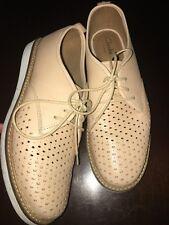 CLARKS Artisan Ladies Peach Leather Glick Resseta Lace Up Shoes Size UK 4.5 D