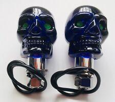 12 Volt BLUE Skull marker lights pair Rat Rod NEW Bobber custom Harley