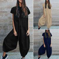 Mode Femme Combinaisom Simple Confortable Manche Courte Col Rond Pantalon Plus