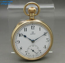 LUXURY SOLID 375 9CT GOLD OMEGA 15WL 47mm OPEN FACE POCKET WATCH 66g BIRM 1941