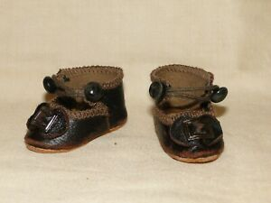 leather shoes BRU style for antique doll size 2""