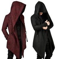 Men's Winter Trench Coat Jacket Hooded Cardigan Long Parka Overcoat Outwear 3XL