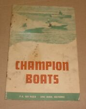 1950 Champion Race Boats Sales Brochure Catalog
