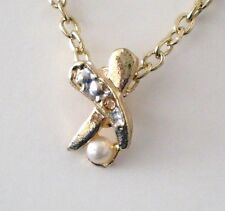 """Retro Necklace Pendant Gold/Silver Plated/Faux Pearls/Clear Stone 18"""" New"""