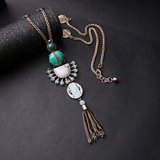 Collier Long Sautoir Doré Pompon Tassel Turquoise Art Deco Ethnique Retro MYL2