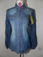 Neue Mozzaar Damen Jeans Hemd Bluse Gr L Denim Langarm Ausgebleichtes Blau