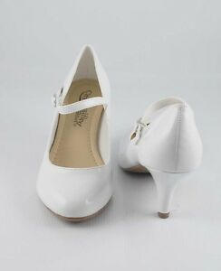 """White Patent Cutie Practical Round Toe Mary Jane 2 3/4"""" Mid Heels Pumps"""
