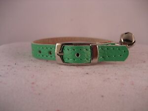 LEATHER GREEN CAT COLLAR