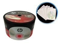 100-Pack (50-PK x 2) HP 16X Logo Blank DVD-R DVDR Disc + 100 White Paper Sleeves