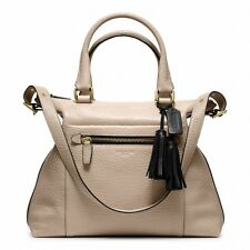 NWT Coach Legacy Textured Leather Rory Large Satchel Brass/Cement/Black 20201