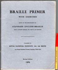 BRAILLE PRIMER Part 1 (1969, revised) & Part 2, 1954 Combined 91pg Bk for BLIND
