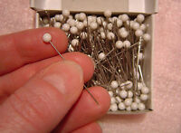 "250 Craft and Hobby Pins WHITE PLASTIC HEADS 1.5"" Long FREE US SHIPPING"