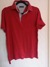 TOMMY HILFIGER MENS SHORT SLEEVE POLO SHIRT RED SIZE LARGE