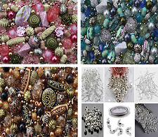 1200 mixed bag of Jewellery Making Beads & 350 Findings - earwires jumprings