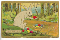 White ~Bunny Rabbit with Colored Eggs Antique Embossed Easter Postcard-p406