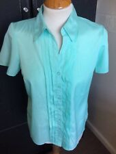VINTAGE BHS TURQUOISE BLUE BLOUSE FRONT PLEATED PETITE S10