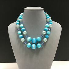 Vintage LISNER Blue MOONGLOW LUCITE & Crystal 2-Strand Bead Necklace Gold FF302e