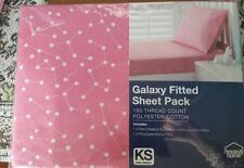 """KING SINGLE BED """" GALAXY """" 2 PCE FITTED SHEET SET. PINK WITH WHITE STAR PATTERN"""